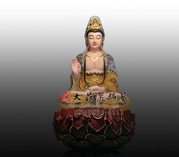 铜观音佛像三十三观音相之彩绘持经观音佛像实拍图