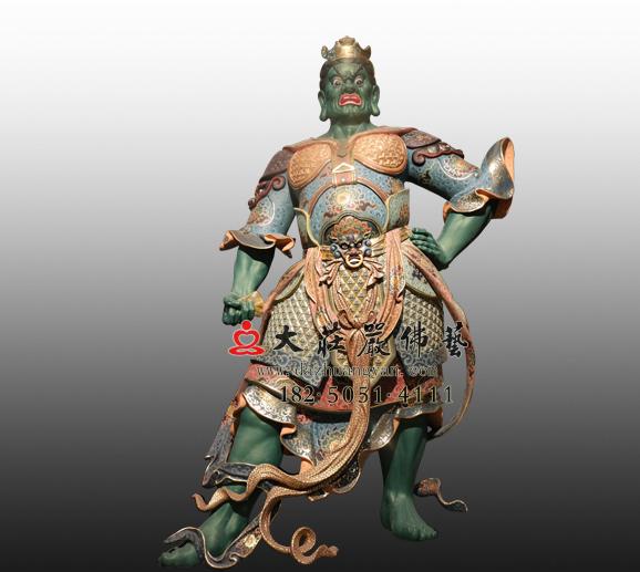 佛教四大天王东方持国天王八大神将之毗舍阇彩绘塑像