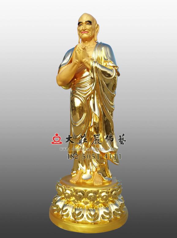 迦叶贴金侧面佛像