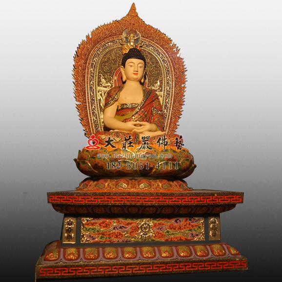 铜雕彩绘释迦牟尼佛左侧照