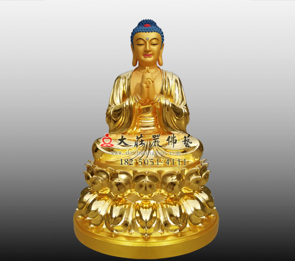 毗卢遮那佛像贴金雕塑