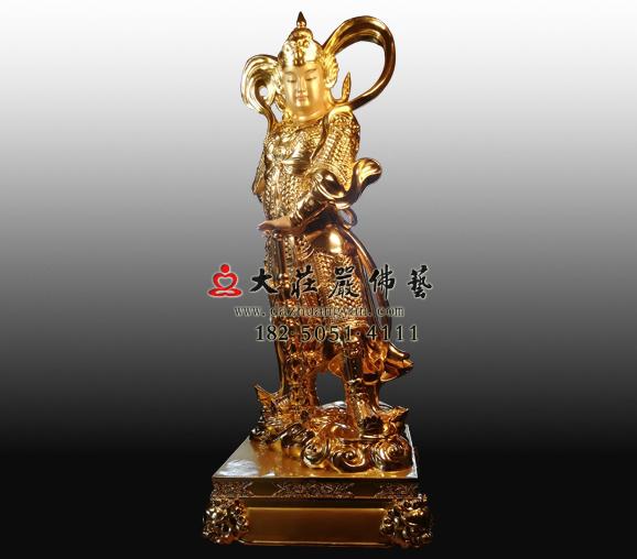 佛教护法神韦陀菩萨贴金佛像订做