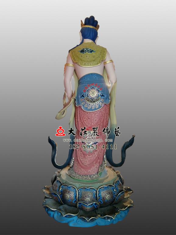 八大菩萨之普贤菩萨彩绘塑像背部照