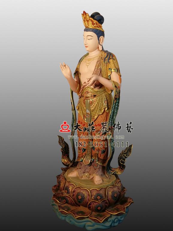 八大菩萨之金刚手菩萨彩绘塑像右侧照