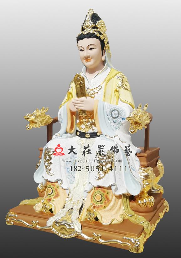 铜雕宝玉娘娘彩绘神像