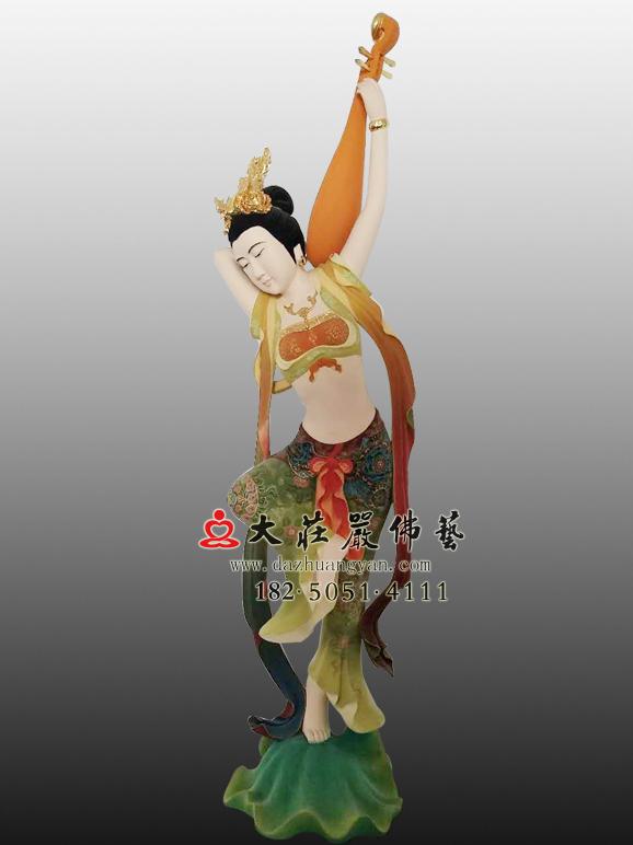 伎乐天-反弹琵琶飞天彩绘塑像