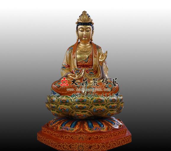 仿古菩萨西方三圣之大势至菩萨彩绘贴金佛像实图