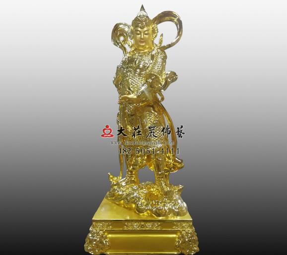 佛教保护神韦驮菩萨贴金佛像实图