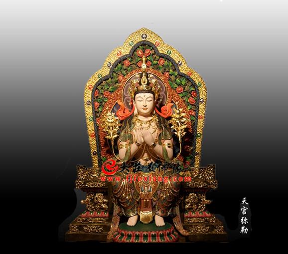 兜率天样式天冠弥勒菩萨彩绘佛像雕塑
