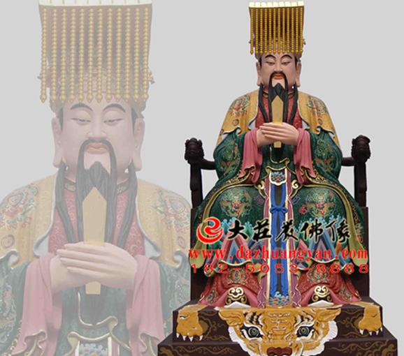 道教神像东方青帝彩绘雕塑