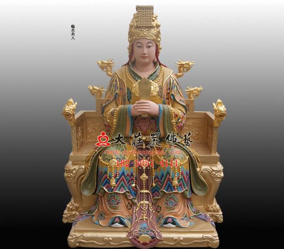 道教神像妇幼保护神临水夫人陈靖姑彩绘神像