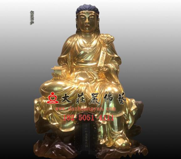 佛教守护神伽蓝菩萨贴金雕塑像订制