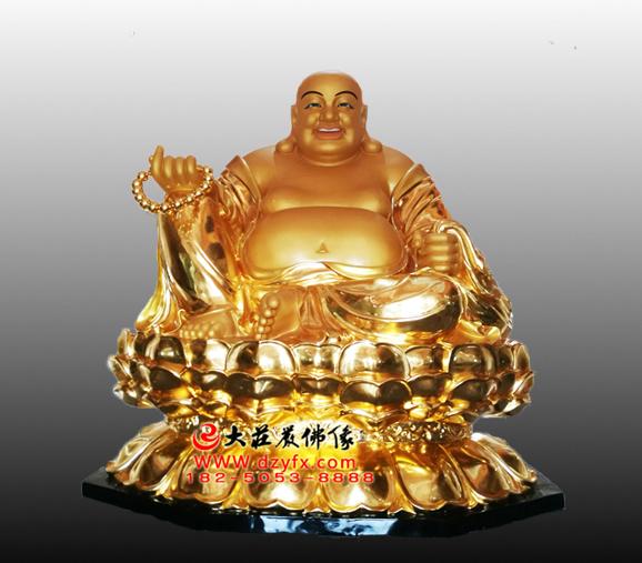 未来佛之弥勒佛贴金佛像雕塑
