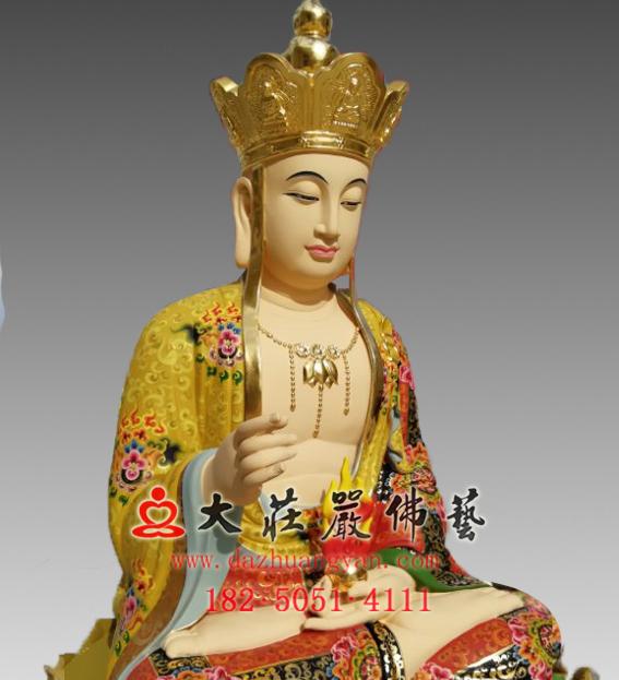 铜雕地藏菩萨彩绘塑像左侧近照