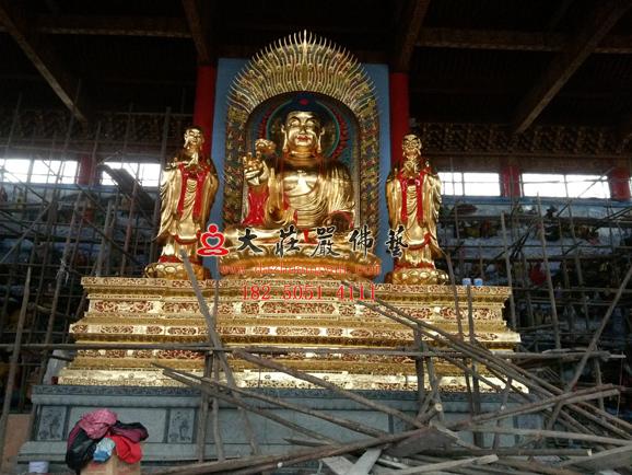 万德寺大型一佛二弟子释迦牟尼佛迦叶阿难尊者贴金铜雕佛像安装实拍图