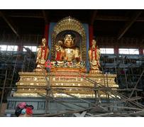 吉林万德寺大型佛像一佛二弟子五百罗汉彩绘贴金塑像释迦牟尼佛迦叶阿难尊者雕塑定制