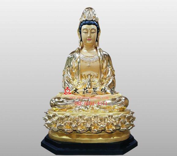 观世音菩萨铜雕佛像 观自在菩萨 西方三圣观音佛像
