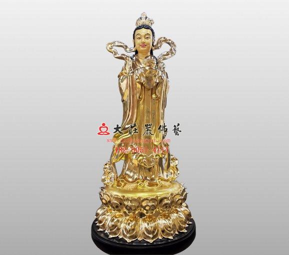 觀音菩薩左脅待龍女塑像 銅雕龍女 龍女佛像定制