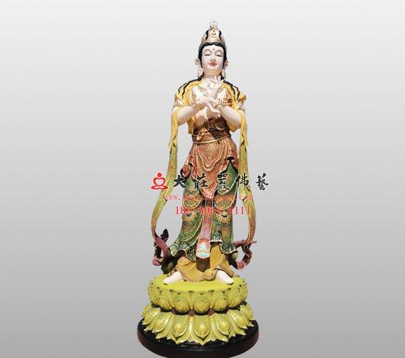 铜雕文殊菩萨之胁侍塑像