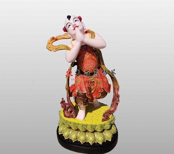 铜雕文殊菩萨弟子塑像