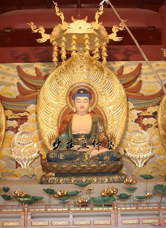铜雕阿弥陀佛 无量寿佛铜雕佛像 西方三圣无量光佛雕塑 接引佛塑像
